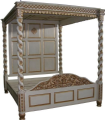 Four Poster Canopy Floral Bed in Mahogany